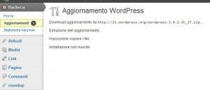 errore wordpress impossibile copiare count not copy
